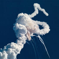 Picture of the Challenger disaster
