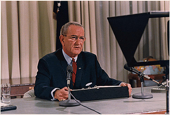 President Lyndon B. Johnson's speech about the bombing halt and his decision not to run for re-election.
