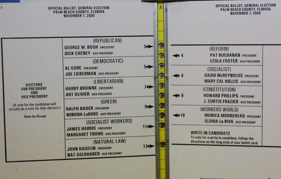 Official ballot for the 2000 United States presidential election, November 7, 2000, from Palm Beach County, Florida.