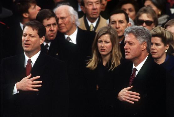 President William J. Clinton and Vice President Al Gore the sing the National Anthem at the 1997 inauguration.