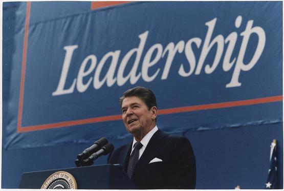 President Reagan giving campaign speech in Texas.