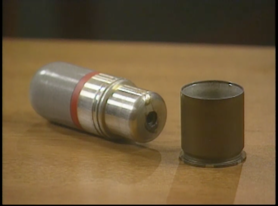 "Still Image 2 of a tear gas shell case in CBS's ""What Really Happened at Waco?"" January 25, 2000."